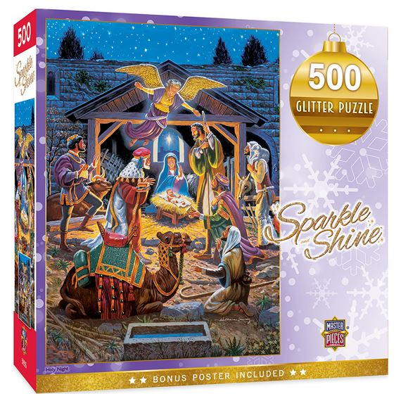 HOLY NIGHT 500-PIECE GLITTER PUZZLE