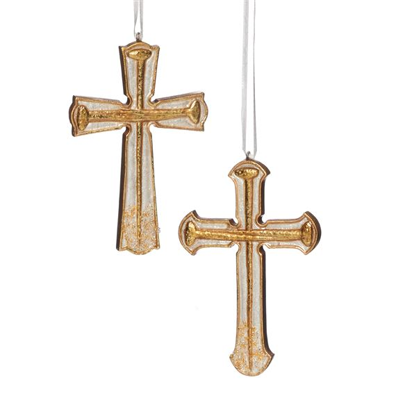 IVORY AND GOLD CROSS ORNAMENT SET