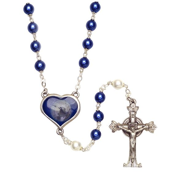 LOURDES ROSARY - WHITE & BLUE PEARLS