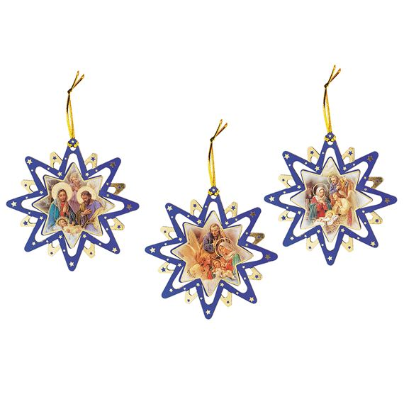 STAR NATIVITY ORNAMENTS - SET OF 3