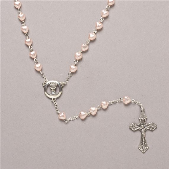 PINK HEART FIRST COMMUNION ROSARY
