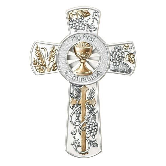 MY FIRST COMMUNION - SILVER & GOLD WALL CROSS