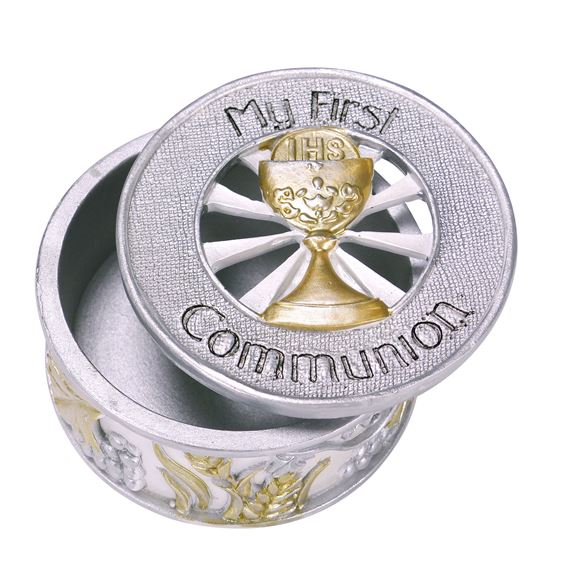 MY FIRST COMMUNION - SILVER & GOLD KEEPSAKE BOX