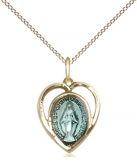 "14KT GOLD FILLED MIRACULOUS PENDANT WITH CHAIN - 5/8"" x 1/2"""