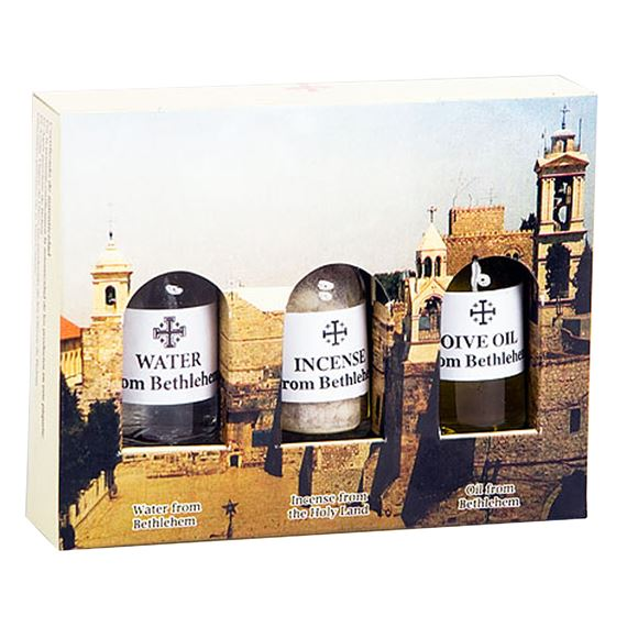HOLY LAND OIL, WATER & INCENSE SET