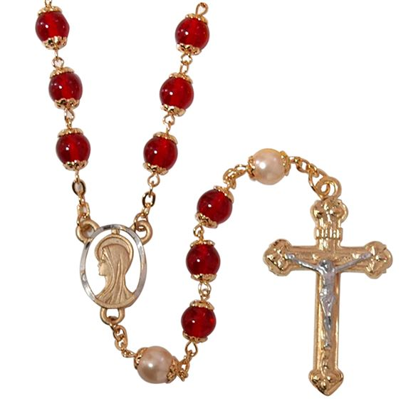 RED AND PEARL GLASS BEAD ROSARY
