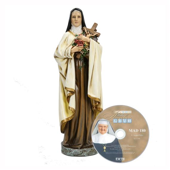 ST THERESE STATUE AND FREE MOTHER ANGELICA DVD