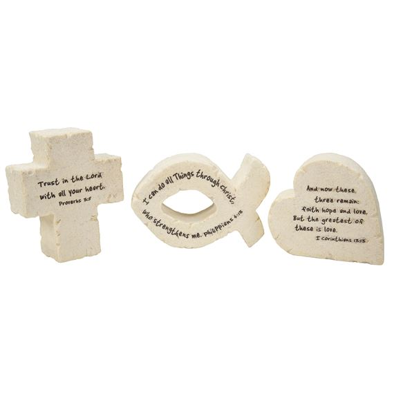 SET OF 3 BIBLICAL SYMBOL PAPER WEIGHTS