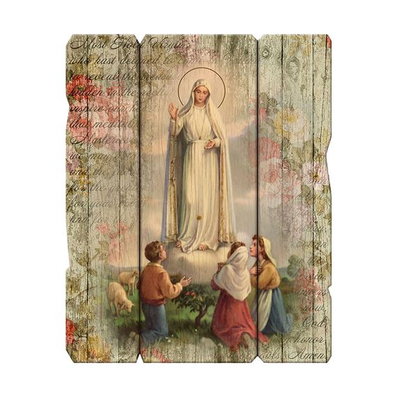 OUR LADY OF FATIMA VINTAGE WOOD PLAQUE- 14""