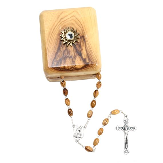 OLIVE WOOD ROSARY AND BOX WITH CLOTH TOUCHED TO JESUS' TOMB