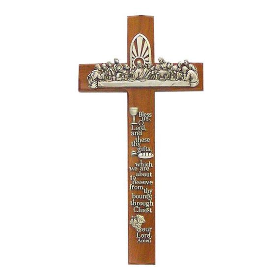WALNUT LAST SUPPER CROSS WITH PRAYER