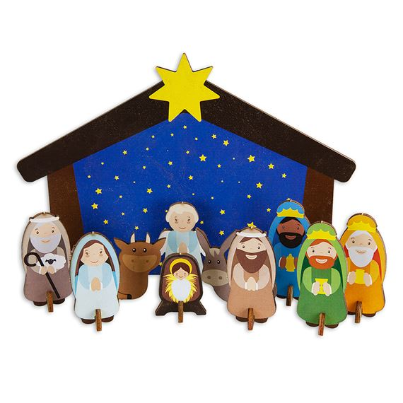 CHILDREN'S WOODEN BUILDABLE STANDING NATIVITY KIT