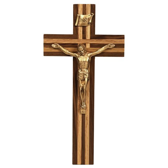 WALNUT CRUCIFIX WITH OAK INLAY (10-INCH)