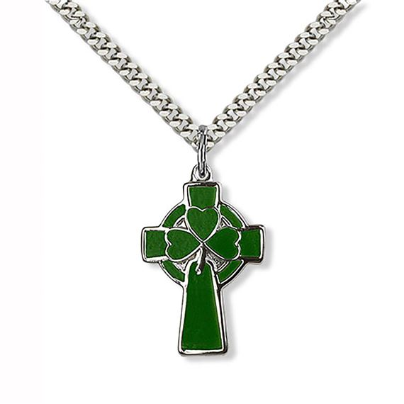 CELTIC CROSS - GREEN ENAMEL AND STERLING SILVER