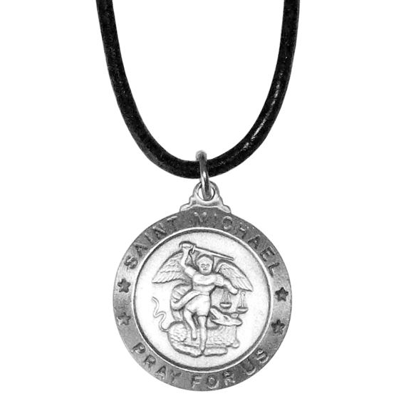 ST. MICHAEL MEDAL ON BLACK CORD