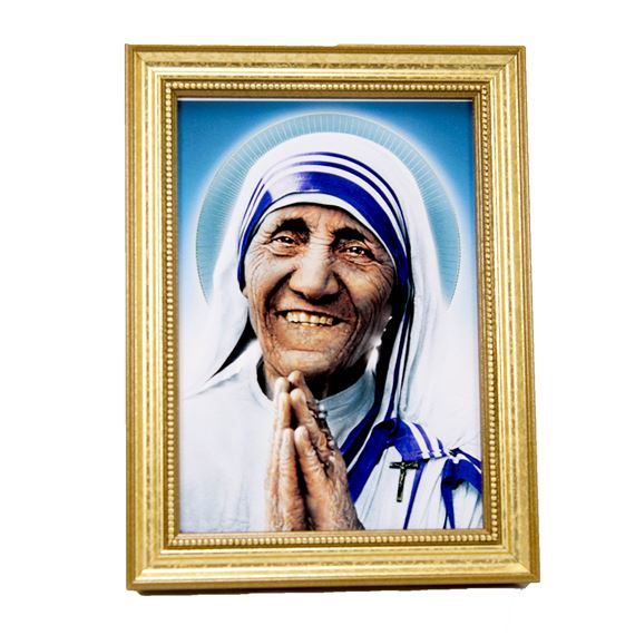 ST. TERESA OF CALCUTTA PICTURE IN EASEL FRAME