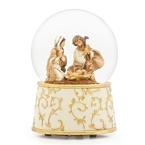 HOLY FAMILY GLITTER DOME WITH IVORY AND GOLD BASE