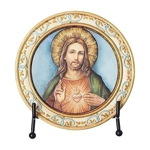 SACRED HEART OF JESUS ROUND PLAQUE WITH EASEL