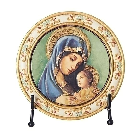 MADONNA AND CHILD ROUND PLAQUE WITH EASEL