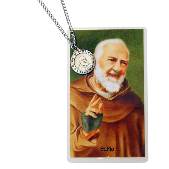 ST. PADRE PIO PENDANT AND PRAYER CARD