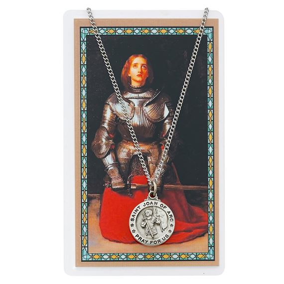 ST. JOAN OF ARC PENDANT AND PRAYER CARD