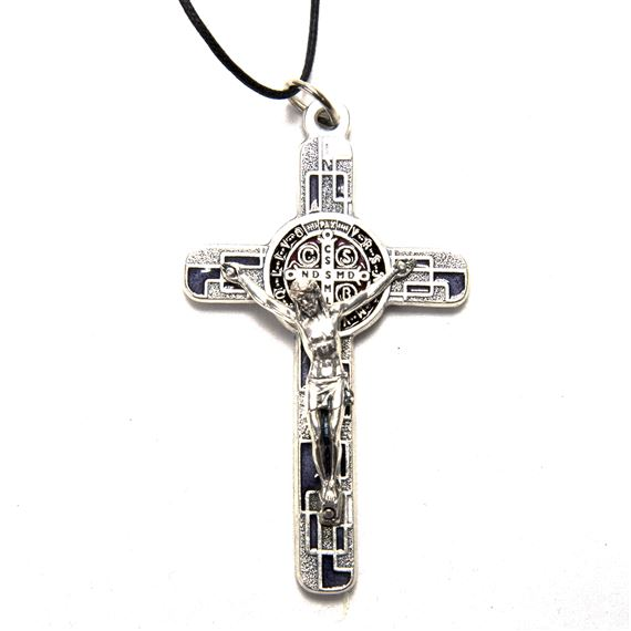ST. BENEDICT SILVER AND BLACK CRUCIFIX