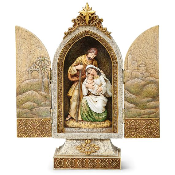 HOLY FAMILY JEWELED TEXTURED TRIPTYCH