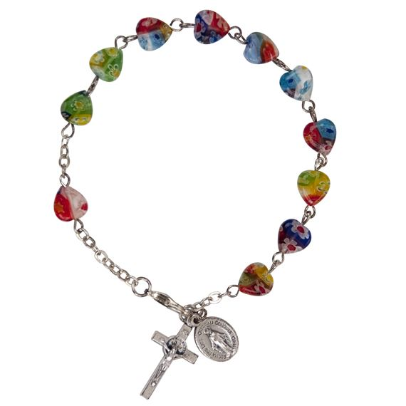MURANO GLASS ROSARY BRACELET WITH HEART BEADS