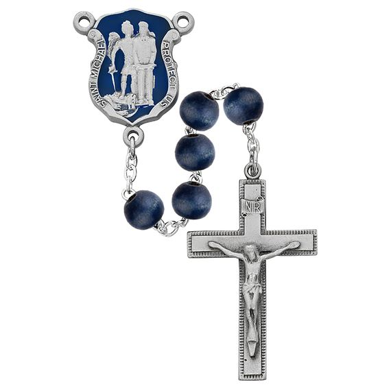 BLUE WOOD BEAD POLICE ROSARY