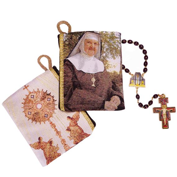 OUR LADY OF THE ANGELS ROSARY & ROSARY POUCH SET
