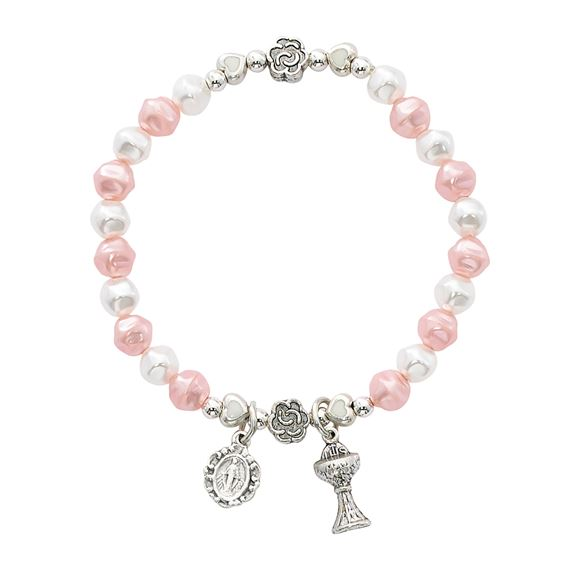FIRST COMMUNION PINK AND WHITE PEARL BRACELET