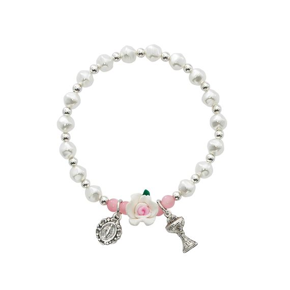 FIRST COMMUNION PEARL BRACELET WITH ROSE