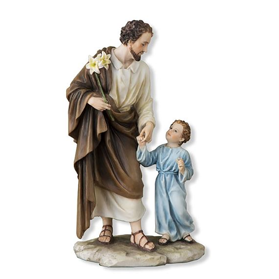 ST. JOSEPH WITH THE CHILD JESUS - PAINTED STATUE