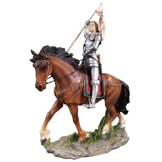 PAINTED ST. JOAN OF ARC EQUESTRIAN STATUE