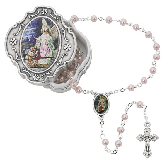 PINK GUARDIAN ANGEL ROSARY WITH BOX