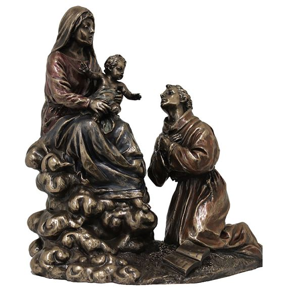 MADONNA AND CHILD WITH ST. FRANCIS BRONZED