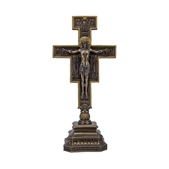 STANDING SAN DAMIANO CRUCIFIX IN COLD-CAST BRONZE