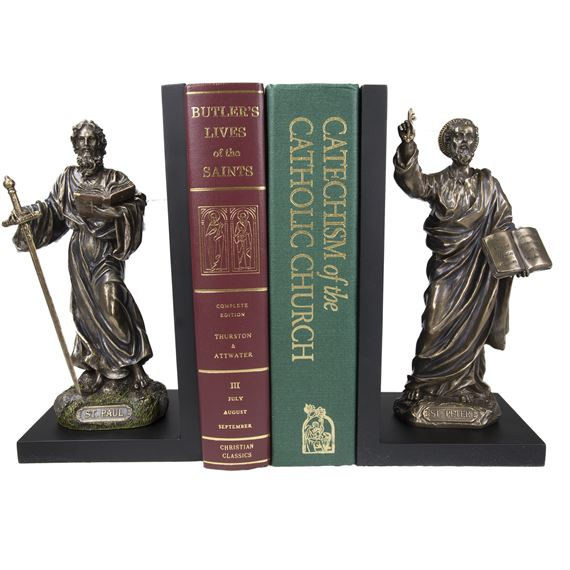 SS. PETER AND PAUL BRONZE BOOKEND SET