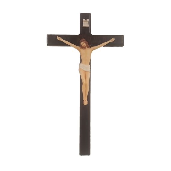 ELEGANT WOOD CRUCIFIX - PAINTED CORPUS