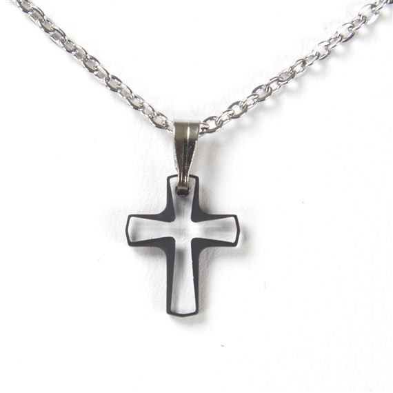 BLACK BORDERED CRYSTAL CROSS