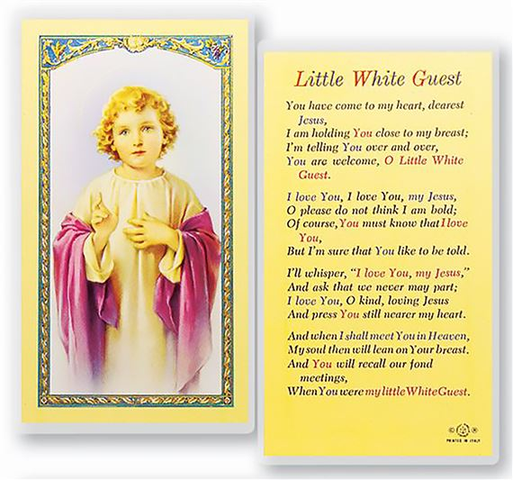 LAMINATED HOLY CARD - LITTLE WHITE GUEST