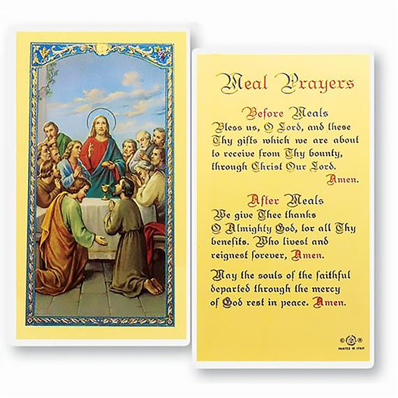 LAMINATED HOLY CARD MEAL PRAYER