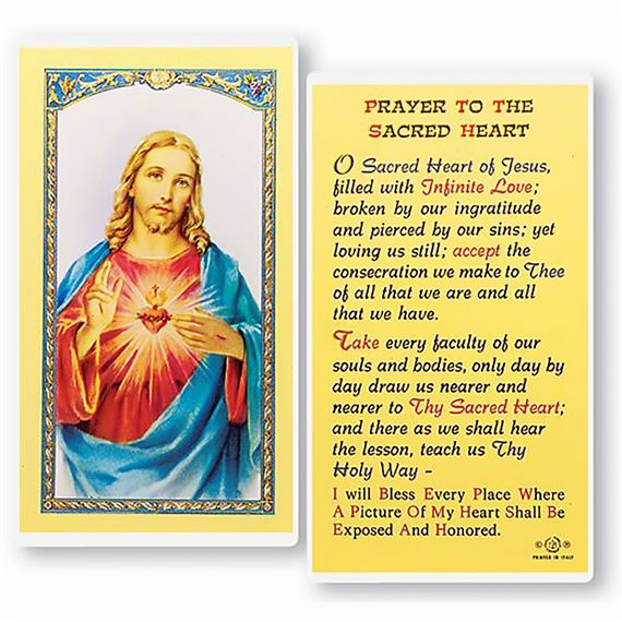 LAMINATED HOLY CARD PRAYER TO THE SACRED HEART