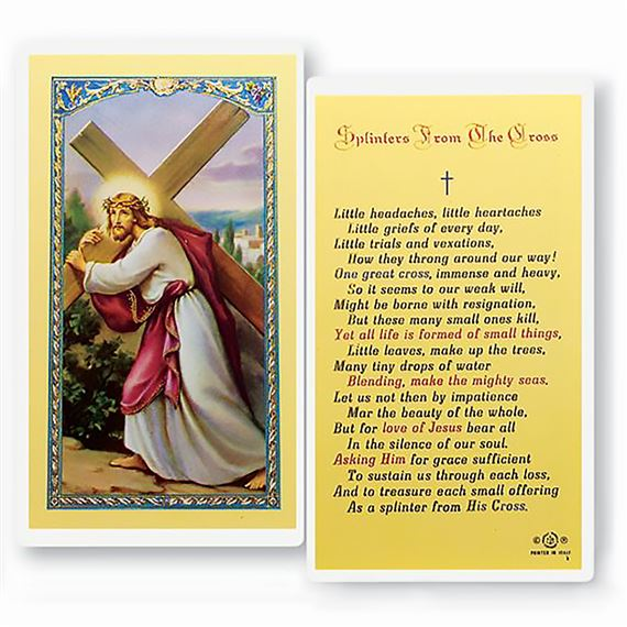 LAMINATED HOLY CARD - SPLINTERS FROM CROSS