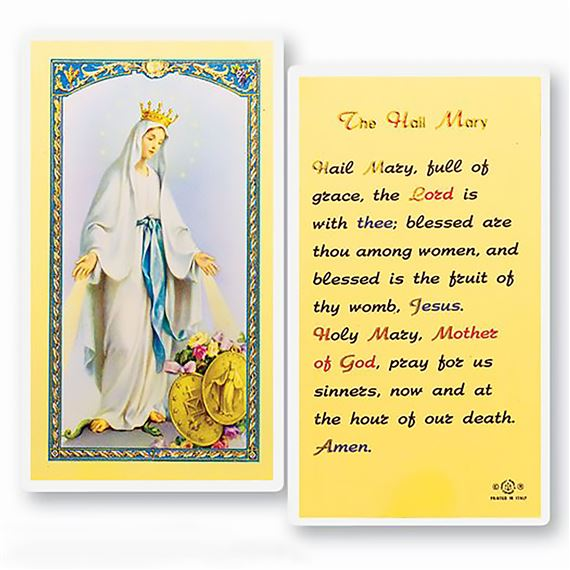 LAMINATED HOLY CARD - THE HAIL MARY