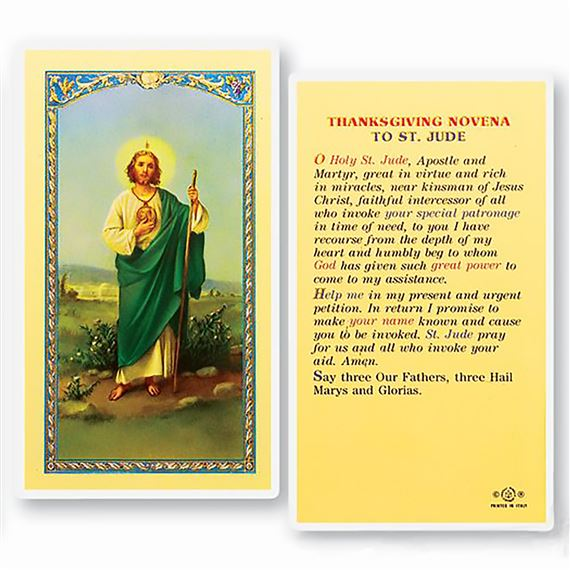 LAMINATED HOLY CARD - ST. JUDE