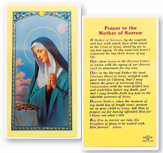 LAMINATED HOLY CARD - MOTHER OF SORROWS