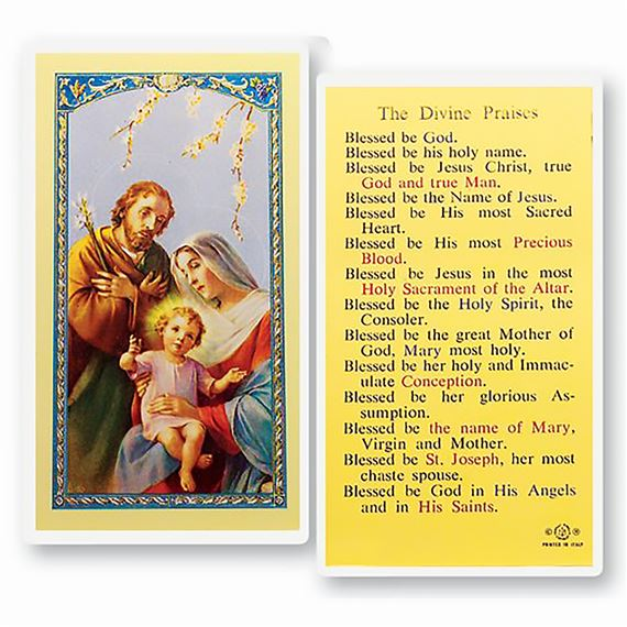 LAMINATED HOLY CARD - DIVINE PRAISES