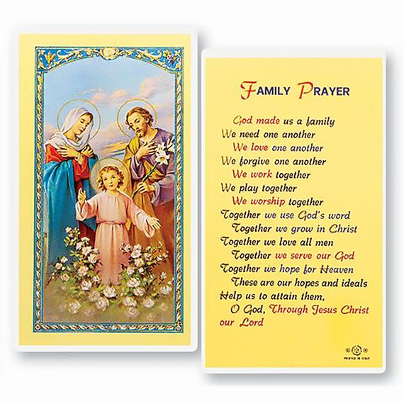LAMINATED HOLY CARD FAMILY PRAYER