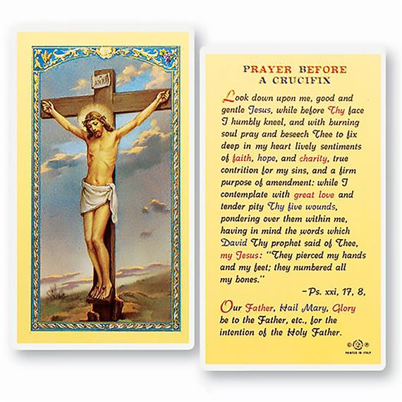 LAMINATED HOLY CARD - PRAYER BEFORE THE CRUCIFIX